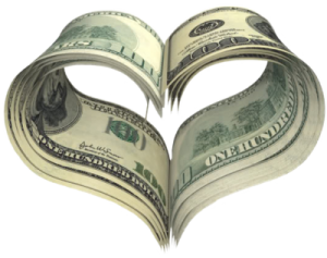 money heart shape